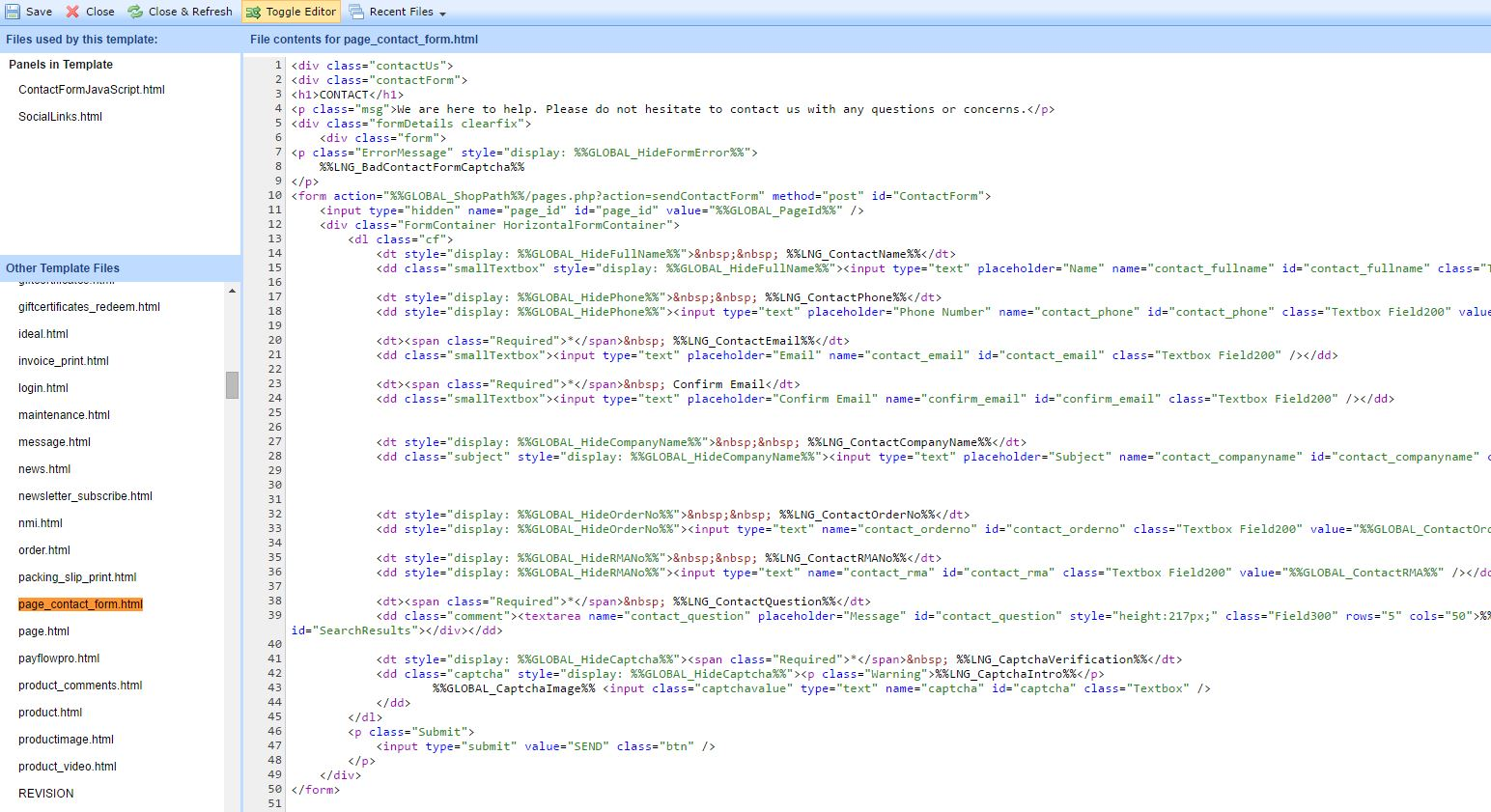 Step 1 - Add code in page_contact_form.html